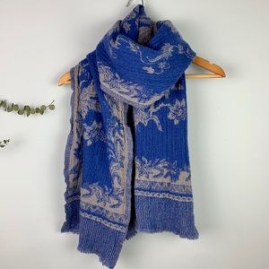 J.Crew Wool Textured Blue Gray Flora & Fauna Scarf